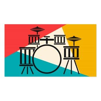 Small Drum Kit Tri-color - Turquoise Coral Gold Business Card Front View