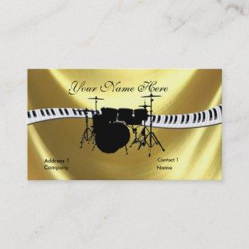 drummer and keyboardb gold business card