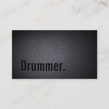 drummer bold text minimalist cool black business card