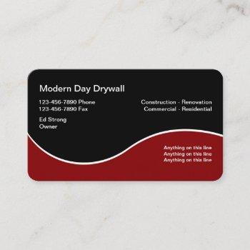 drywall contractor modern business cards