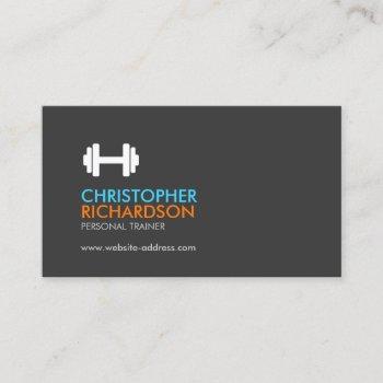 dumbbell logo fitness personal trainer orange/blue business card
