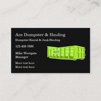 dumpster rental & trash hauling business card