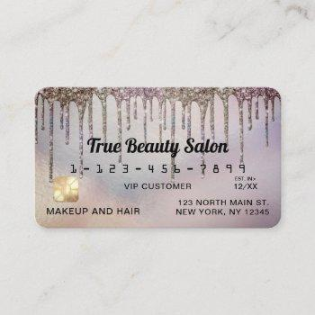 dusty purple holographic glitter drips credit business card