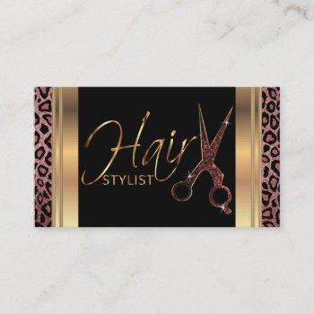 dusty rose glitter hair stylist business card