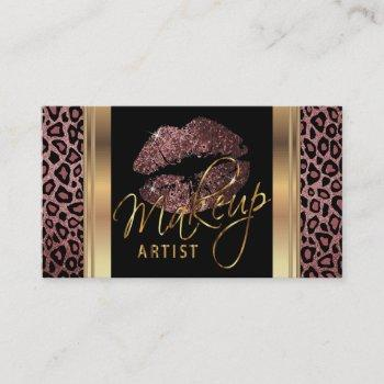 dusty rose glitter lips on leopard skin business card