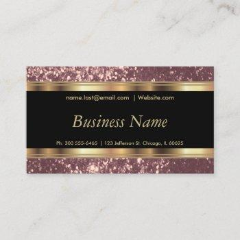 dusty rose gold glitter and elegant gold business card