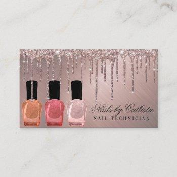 dusty rose gold metallic glitter drips nail polish business card