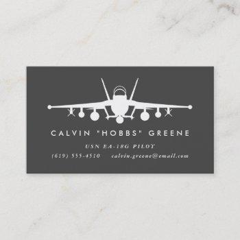 ea-18g growler fighter pilot with custom text business card