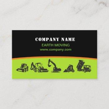 earth moving, excavator, landscaping business card