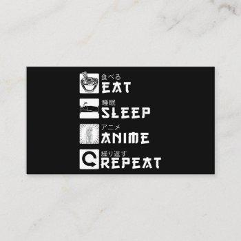 eat sleep anime repeat japanese manga lover business card