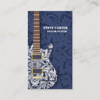 electric guitar player music artist card concert