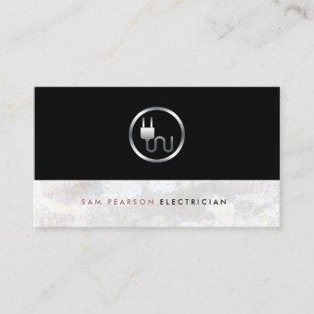 electrician bold silver electric plug icon elegant business card