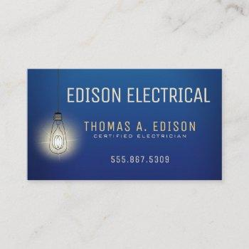 electrician | electric lightbulb business card