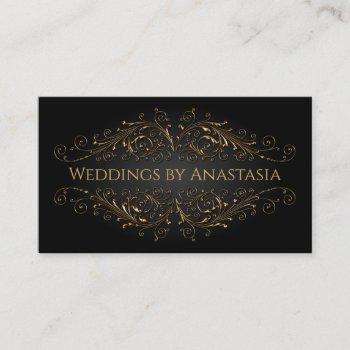 elegant antique gold swirls black glow business card