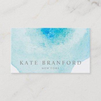 elegant aqua blue abstract watercolor art business card