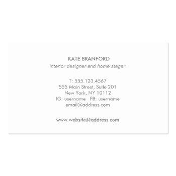 Small Elegant Aqua Blue Abstract Watercolor Art Business Card Back View