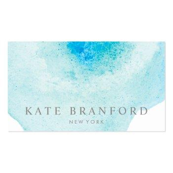 Small Elegant Aqua Blue Abstract Watercolor Art Business Card Front View