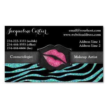 elegant aqua zebra glitter kiss cosmetologist magnetic business card