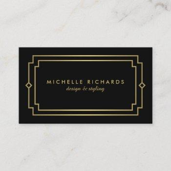 elegant art deco professional black/gold business card
