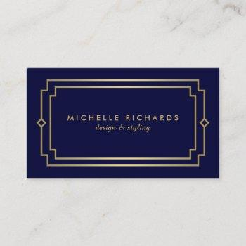 elegant art deco professional navy/gold business card