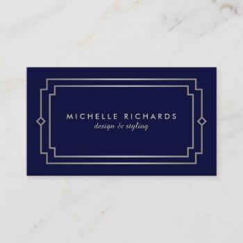 elegant art deco professional navy/silver business card