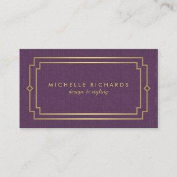 elegant art deco professional purple/gold business card
