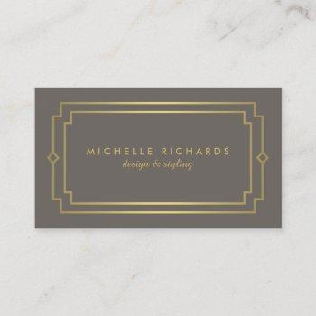 elegant art deco professional taupe/gold business card