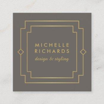 elegant art deco professional taupe/gold square business card