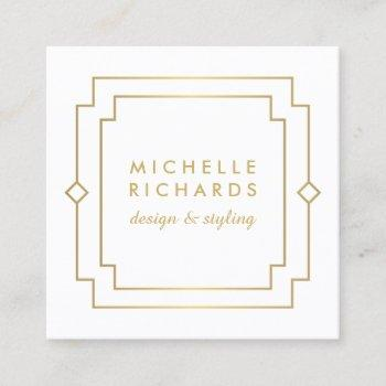 elegant art deco professional white/gold square business card