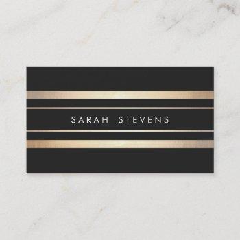 elegant black and faux foil gold striped modern business card