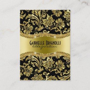 elegant black and gold vintage damasks 4 business card