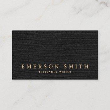 elegant black linen look classy business card