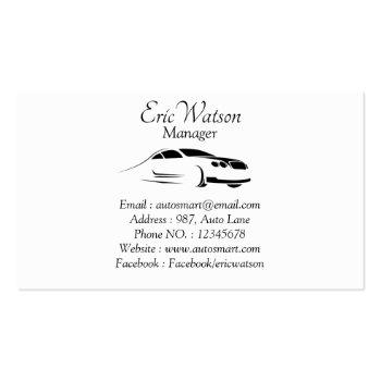Small Elegant Black Professional Automobile Business Card Back View