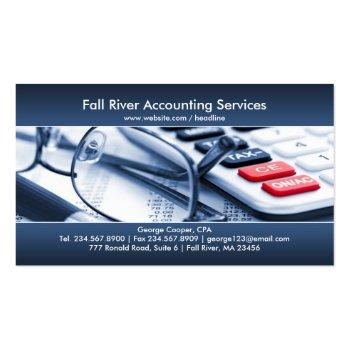 Small Elegant Blue Accounting Business Card Front View