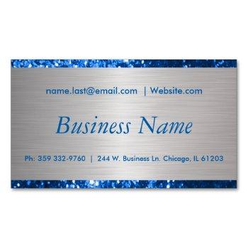 elegant blue and brush silver steel magnetic business card