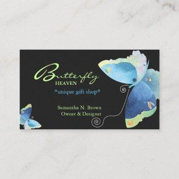 elegant blue butterfly personalized business cards