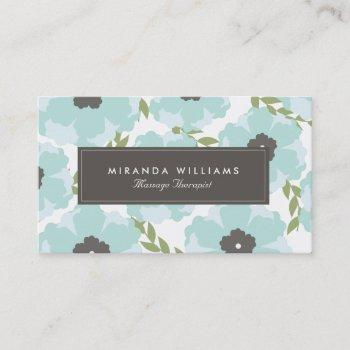 elegant blue floral business cards - groupon