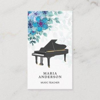 elegant blue floral grand piano musician pianist business card