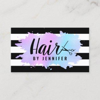 elegant blue & purple scissors hairstylist business card