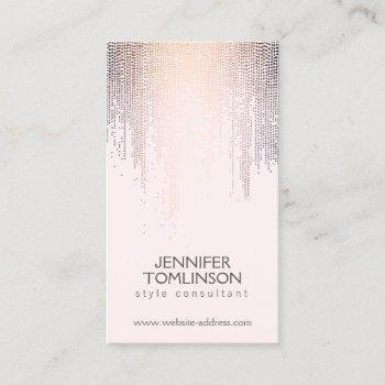 elegant blush confetti rain pattern pink business card