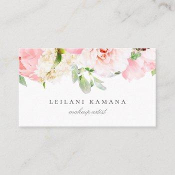 elegant blush pink floral business card