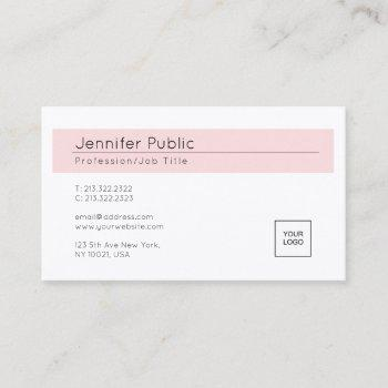 elegant blush pink white trendy add your logo business card
