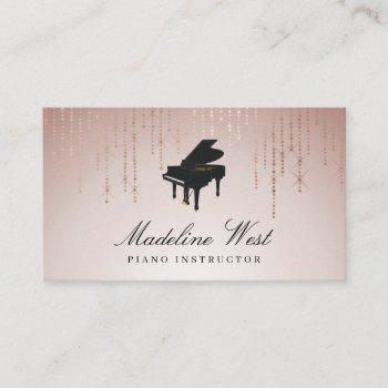 elegant blush rain piano instructor music teacher business card