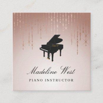 elegant blush rain piano instructor music teacher square business card