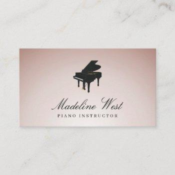 elegant blush rose piano instructor music teacher business card