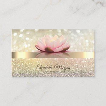 elegant bokeh gold, lotus flower yoga instructor business card