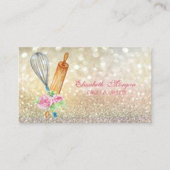 elegant bokeh rolling pin whisk bakery business card