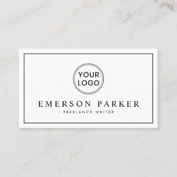 elegant border white modern minimalist custom logo business card