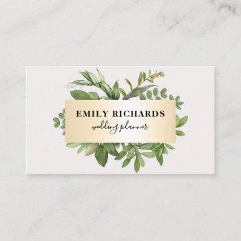 elegant botanical leaves script chic gold frame business card