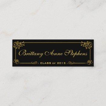 elegant bright gold graduation name card insert